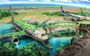 nature, aircraft, airplane, drawing, anime, apocalyptic
