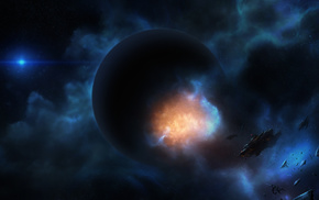 art, planet, explosion, ship, space
