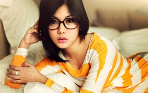 black hair, Asian, girl, striped clothing, lipstick, glasses
