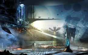 digital art, concept art, futuristic, artwork, city