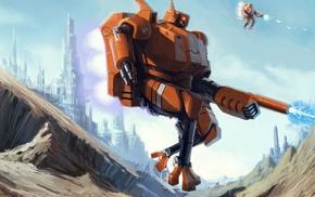 fantasy art, mech, war, Warhammer 40, 000, robot