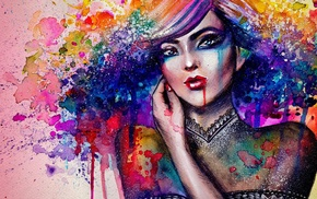 colorful, girl, painting, artwork