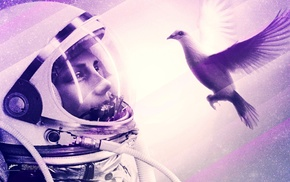 space, birds, jelly, spaceman, Axwell, angel