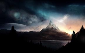 горы, лес, цифровое искусство