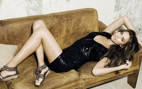 sandels, lying down, legs, couch, black dress, Irina Shayk