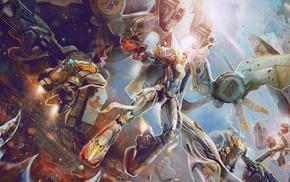 fantasy art, warrior, girl, robot, artwork, concept art