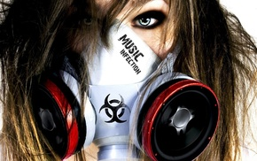 gas masks, photography, artwork, girl, music, biohazard