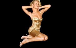 heels, dress, Heidi Klum, gold, blonde, girl