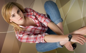 girl, shirt, actress, plaid, jeans, blonde