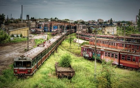 train station, abandoned, train, apocalyptic, HDR, Poland