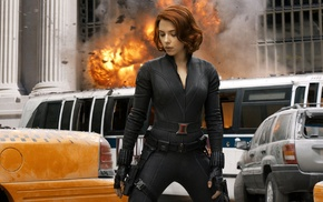 Scarlett Johansson, Black Widow, explosion, The Avengers, movies, superheroines