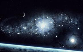 Космос, звезды, свет, земля, планеты, поверхность