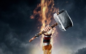 hammer, movies, Mjolnir, Thor 2 The Dark World, arms up, Thor