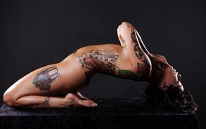 tattoo, beauty, brunette, art, girls