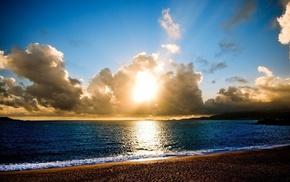 море, облака, закат