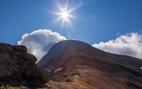 mountain, light, nature, Sun, clouds
