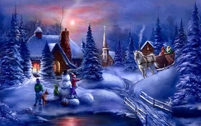 landscape, trees, night, Christmas, winter