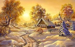 winter, lodge, trees, snow, landscape