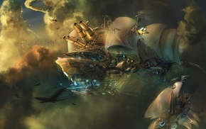 clouds, concept art, artwork, fantasy art, aircraft, steampunk