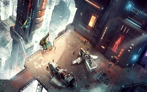 artwork, city, space station, futuristic, fantasy art, concept art