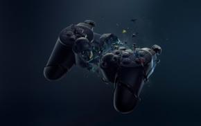 controllers, consoles, broken, DualShock 3, blue, black