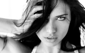 Adriana Lima, blue eyes, face, monochrome, brunette, hands on head