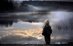 reflection, water, lake, child, mist