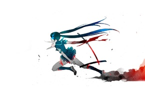 anime, blue hair, white background, simple background, blue eyes, blood