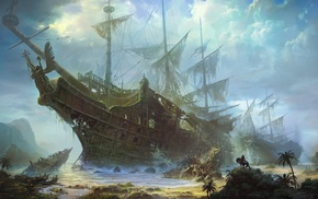 old ship, shipwreck, sea