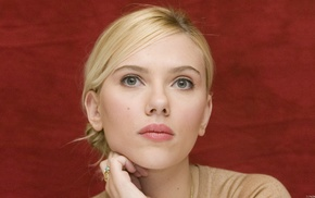 face, girl, green eyes, blonde, Scarlett Johansson