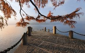 twigs, pier, autumn, berth, water