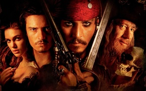 Keira Knightley, Johnny Depp, Orlando Bloom, movies, Pirates of the Caribbean The Curse of the Black P