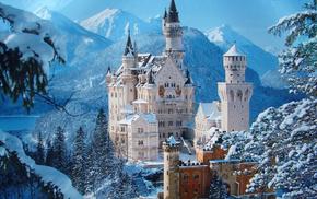 небо, зима, Бавария, снег, деревья, замок
