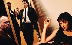John Travolta, Samuel L. Jackson, Bruce Willis, movies, Uma Thurman, Pulp Fiction