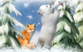 snowflakes, Christmas tree, snow, painting, fox