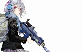 scarf, white background, jacket, weapon, anime, SCAR