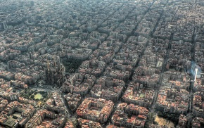 building, church, aerial view, Barcelona, Spain, city