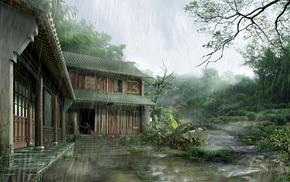 house, Japan, rain, nature