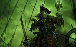old ship, sea, green, spooky, pirates