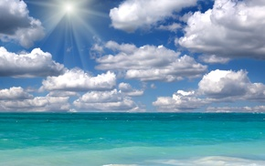 clouds, sky, sea, Sun, nature