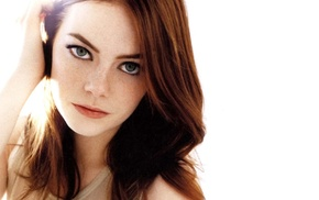 girl, redhead, face, freckles, Emma Stone, green eyes