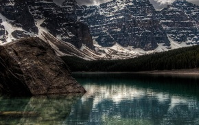 mountain, Moraine Lake, Canada, nature, lake