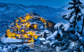 lights, town, winter