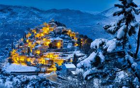 огни, городок, зима