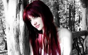 green eyes, selective coloring, readhead, girl, model, Susan Coffey