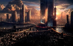artwork, fantasy art, futuristic, concept art, city