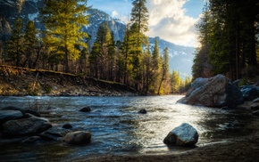 rock, HDR, river, mountain, trees, nature