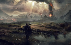 Mordor, fantasy art, video games, Middle, earth  Shadow of Mordor, The Lord of the Rings