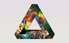 space, abstract, Penrose triangle, simple background