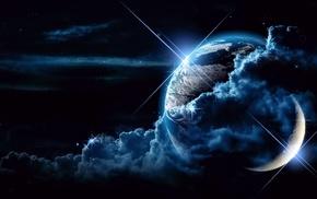 planet, 3D, clouds, stars